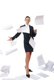 Business woman and flying paper Royalty Free Stock Photography