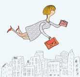 Business woman flying to work Stock Images