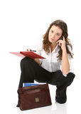 Business woman - focus on the bag Stock Image