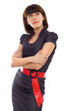 Business woman with folded hands isolated Royalty Free Stock Photo