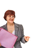 Business woman with a folder. Business woman on a white background Royalty Free Stock Photography