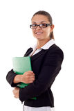 Business woman with folder. Young happy smiling business woman with folder, isolated on white Royalty Free Stock Images