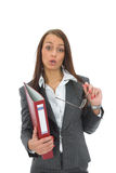 Business woman with folder Stock Photography