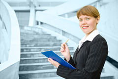 Business woman with folder Royalty Free Stock Photo