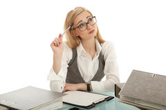 Business woman with folder on desk Stock Photos