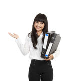Business woman with a folder presenting Royalty Free Stock Photos