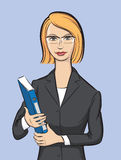 Business woman with folder vector illustration