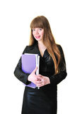Business woman with folders Royalty Free Stock Photos