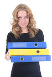 Business woman with folders Stock Photo