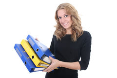 Business woman with folders Stock Image