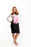 Business woman with folders on light background Stock Image