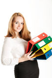Business woman with folders on light background Royalty Free Stock Photos