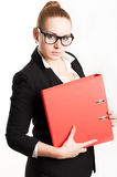Business woman with folders on  light background Stock Photos