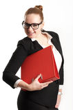 Business woman with folders on  light background Stock Photo