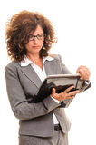 Business woman folders note check Royalty Free Stock Image