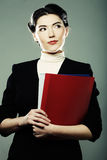 Business woman with  folders. Stock Photography