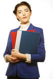 Business woman with  folders. Royalty Free Stock Images