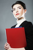 Business woman with  folders. Royalty Free Stock Photo