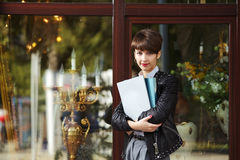 Business woman with a folders Stock Photo