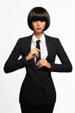 Business woman in formal suit and tie Royalty Free Stock Images