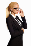 Business woman in formal suit and tie Royalty Free Stock Image