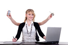 Business woman with four arms Royalty Free Stock Photography
