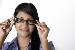 Business woman frame on glasses on face Royalty Free Stock Photography