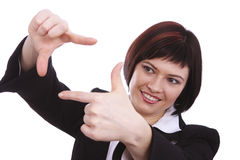 Business woman with framing hands Stock Photos