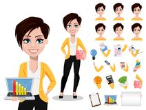 Business woman, freelancer, banker. Beautiful lady in casual clothes