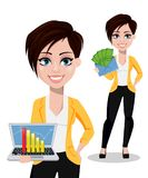 Business woman, freelancer, banker. Beautiful lady in casual clothes stock illustration