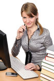 Business woman in front of her desktop computer Royalty Free Stock Photo