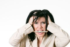 Business woman frustrated royalty free stock photography
