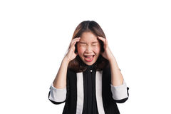 Business woman frustrated and stressed on white background. Royalty Free Stock Image