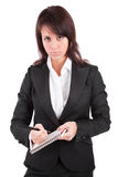 Business woman full of thoughts Royalty Free Stock Photos