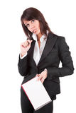 Business woman full of thoughts Stock Image