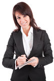 Business woman full of thoughts Royalty Free Stock Image