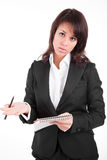 Business woman full of thoughts Stock Photography
