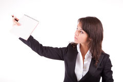 Business woman full of thoughts Stock Photo