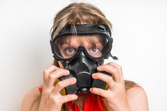 Business woman with gas mask isolated on white Stock Images