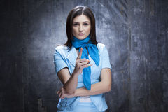 Business woman gesturing. Attractive young manager gesturing in office Stock Photo