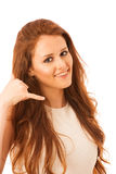 Business woman gesturing call me sign with her hand isolated ove Royalty Free Stock Photo