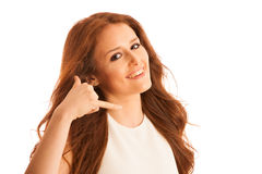 Business woman gesturing call me sign with her hand isolated ove Royalty Free Stock Images