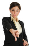 Business woman gesturing thumbs down Royalty Free Stock Photo