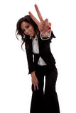 Business woman gesturing victory Stock Images