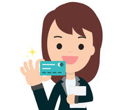 Business woman get credit card with isolated white Stock Photo