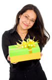 Business woman with a gift Royalty Free Stock Photography