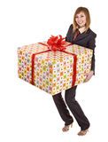 Business woman with gift box. Royalty Free Stock Photography