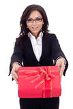 Business woman with gift box Stock Image