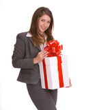 Business woman with gift box. Smile business woman with gift box. Isolated Stock Photo