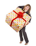Business woman with gift box. Royalty Free Stock Images